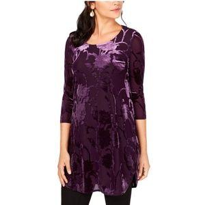 Alfani Velvet Tunic Burnout in Purple Floral
